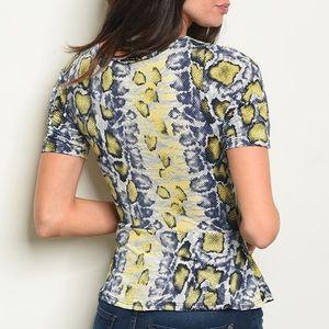 Yellow & navy snakeskin print top, NEW!